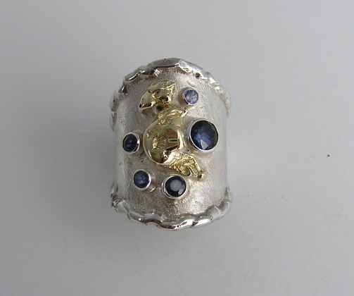 Silver & 18ct gold ring with blue Sapphires