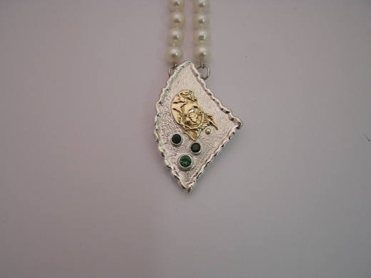 Silver & 18ct gold pendant with 2 Tsavorites and 1 Chrome Tourmaline
